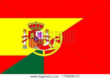 spain portugal neighbor countries half flag symbol