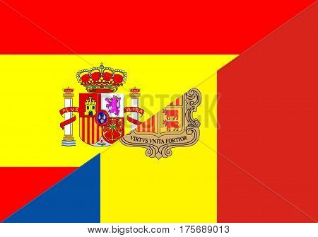 spain andorra neighbor countries half flag symbol