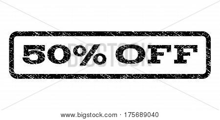 50 Percent Off watermark stamp. Text caption inside rounded rectangle frame with grunge design style. Rubber seal stamp with dirty texture. Vector black ink imprint on a white background.