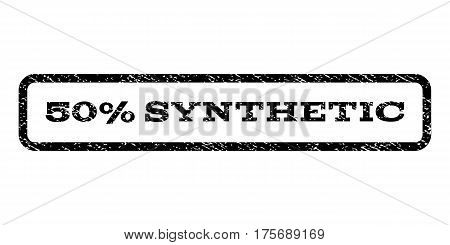 50 Percent Synthetic watermark stamp. Text caption inside rounded rectangle frame with grunge design style. Rubber seal stamp with unclean texture. Vector black ink imprint on a white background.
