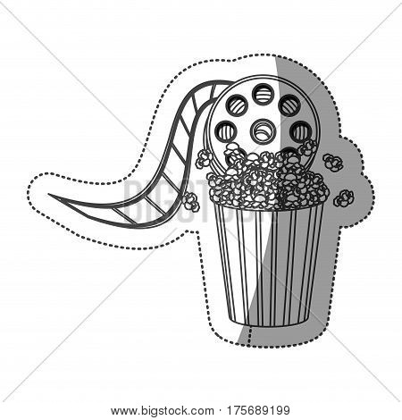 monochrome contour sticker with cinematography movie video film tap and popcorn vector illustration