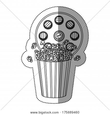 monochrome contour sticker with cinematography tape and popcorn vector illustration