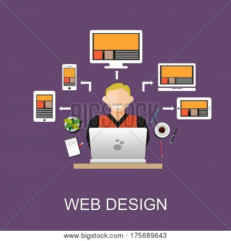 Web design concept illustration. Flat design illustration concepts for web designer, web development, web developer, responsive web design, programming