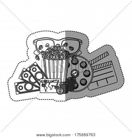 monochrome contour sticker with popcorn cup and glasses 3D and money and movie tickets and movie tape and clapper board vector illustration