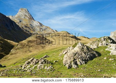 Landscape in the Aneou, Ossau Valley, Pyrenees National Park, Pyrenees, France.
