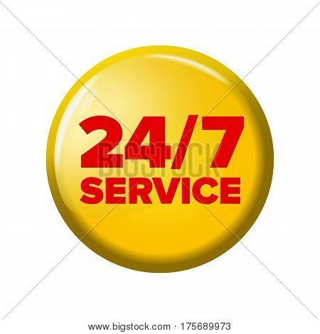 Bright Yellow Round Button With Words '24/7 Service'