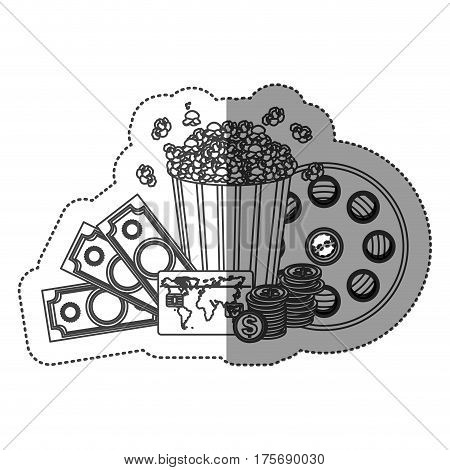 monochrome contour sticker with popcorn cup and money and movie tickets and movie tape vector illustration