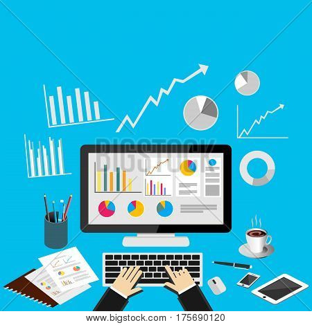 Business analytics . Business dashboard. Business intelligence concept illustration.