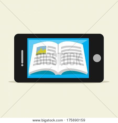 E-book on mobile phone. Digital book. E-learning, Education supplies