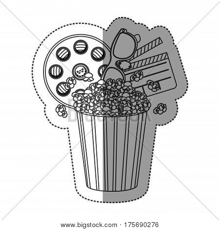 monochrome contour sticker with popcorn cup with cinematography tape and clapper board vector illustration