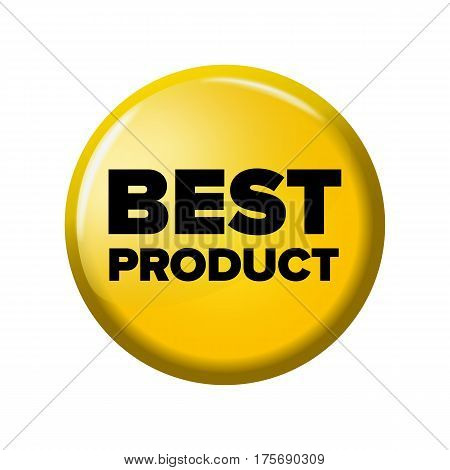 Bright Yellow Round Button With Word 'best Product'