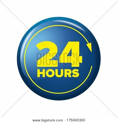 Bright Blue Button With Words '24 Hours'  And Arrow
