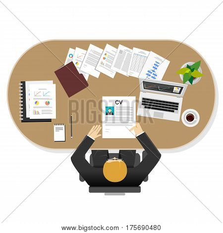 Manager task illustration. Flat design illustration concepts for management leader task businessman.
