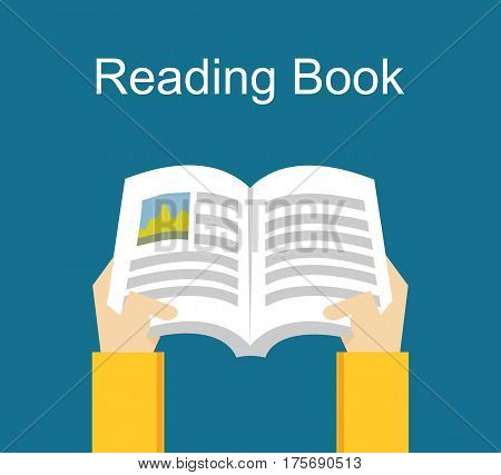 Reading book. Studying concept. Flat design illustration concepts for studying , working , reading a book
