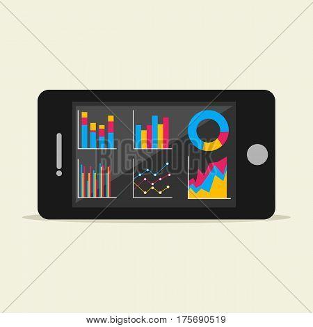Statistics illustration. Analyze business statistics on mobile phone. Mobile phone business dashboard