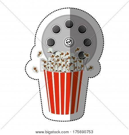 colorful sticker with cinematography tape and popcorn vector illustration