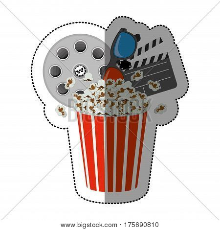 colorful sticker with popcorn cup with cinematography tape and clapper board vector illustration