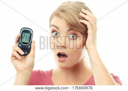 Vintage photo Shocked and worry woman holding glucometer with bad result of measurement sugar level concept of diabetes