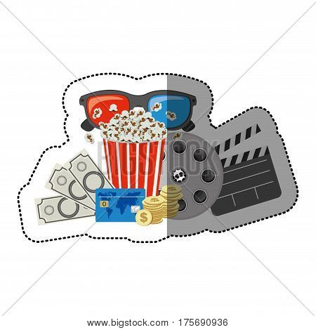 colorful sticker with popcorn cup and glasses 3D and money and movie tickets and movie tape and clapper board vector illustration