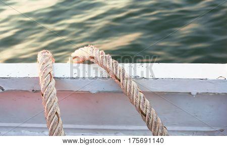 Old rope on boat for design background.