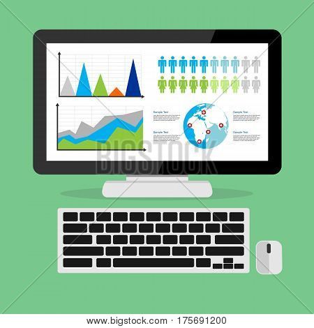 Web analytic showing business growth graph concept illustration. Business dashboard