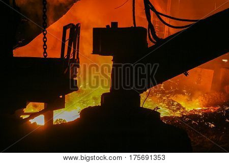 Melting of iron at a metallurgical plant in the city of Zaporozhye (Ukraine). January 2007 September 2007