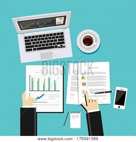 Business analysis and evaluation concept illustration. Flat design illustration concepts for business growth management, analysis, business statistics