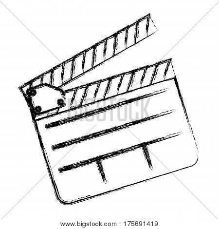 monochrome sketch sticker with clapperboard cinema vector illustration