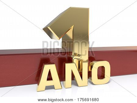 Golden digit one and the word of the year. Translated from the Spanish - years. 3D illustration
