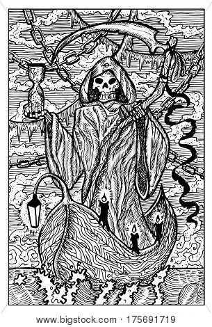The Death, Grim Reaper. Hand drawn vector illustration. Engraved line art drawing, black and white doodle. See all fantasy collection in my portfolio set