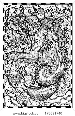 Giant Sky Whale. Hand drawn vector illustration. Engraved line art drawing, black and white doodle. See all fantasy collection in my portfolio set