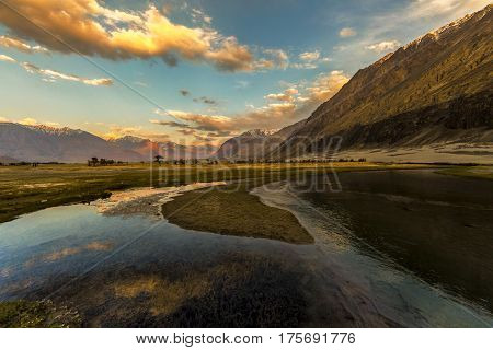 Nubra Is A Tri-armed Valley Located To The North East Of Ladakh Valley. Diskit The Capital Of Nubra