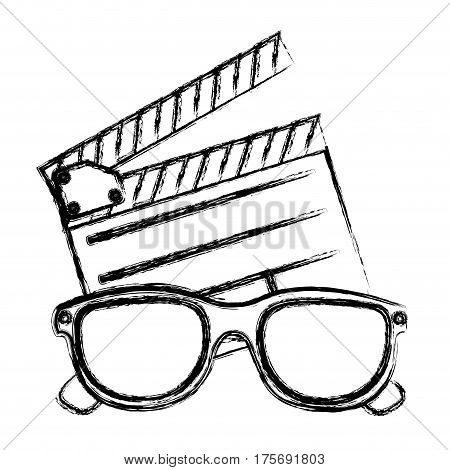 monochrome sketch with clapperboard cinema and 3D cinema glasses vector illustration