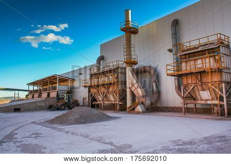 Clinker plant in Alcorisa is a municipality of Spain in the province of Teruel in the Autonomous community of Aragon. The municipality is a part of the district (Comarca) of Bajo Aragon. November 2007.