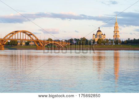 Transfiguration cathedral in the Volga river embankment. July evening. Rybinsk, Russia
