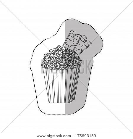 grayscale contour sticker of popcorn container with movie tickets inside vector illustration