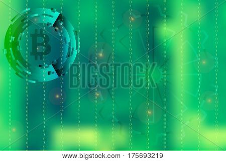 Vector picture with blurred background on for illustration of movement in digital business with binary code and bitcoin symbol in green.