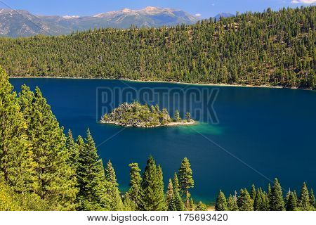 Fannette Island In Emerald Bay At Lake Tahoe, California, Usa