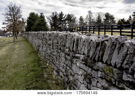 landscape of an iconic stone fence in Lexington Kentucky