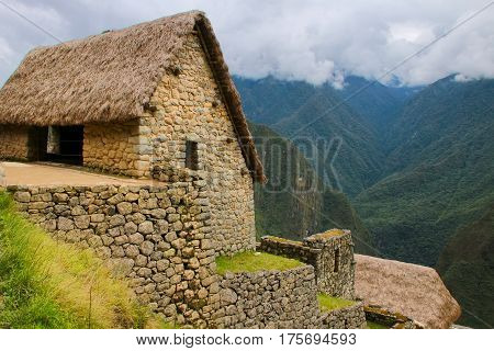 Stone Building At Machu Picchu Citadel In Peru