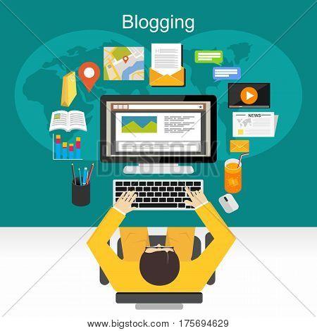 Blogging , internet concent , vlog illustration concept.