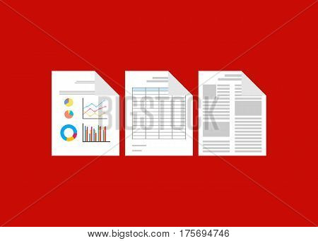 Documents , business report, paperwork, spreadsheet symbol