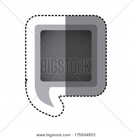 grayscale sticker of square speech with tail vector illustration