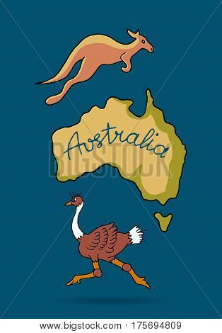 Australia continent in doodle style, ostrich and kangaroo, vector illustration for your design