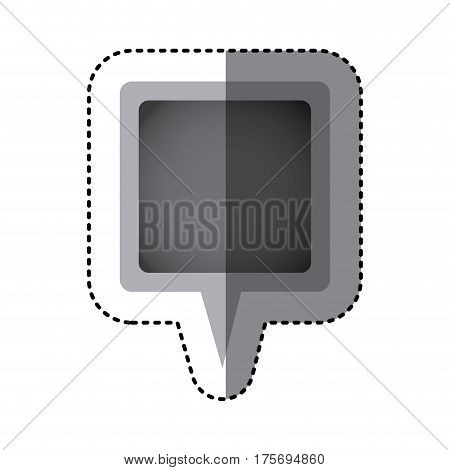 grayscale sticker of square speech with tail in center vector illustration