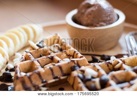 Delicious Sweet Dessert : Homemade Waffle With Chocolate Sauce ,selective Focus