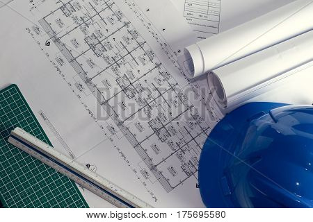 Architectural Plans Project Drawing With Blueprints Rolls.