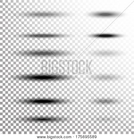 Transparent Soft Shadow Vector. Transparency Oval Shadow With Soft Edges Isolated On Checkered Background.
