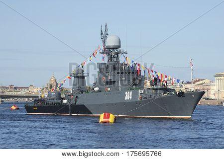 SAINT PETERSBURG, RUSSIA - MAY 09, 2015: Small anti-submarine ship
