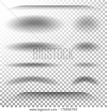 Transparent Soft Shadow Vector. Realistic Oval, Round Shadows Set. Tab Dividers Lower Shadow Shade Effect With Soft Smooth Edges.